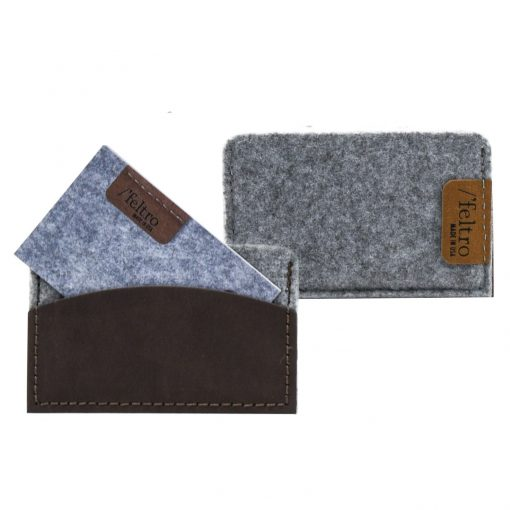 Feltro Collection Brief Leather and Felt Business Card Holder