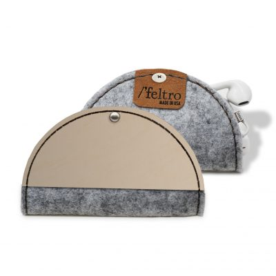 "Feltro Collection ""Taco like"" Leather and Felt Duo Tone Cord Holder"