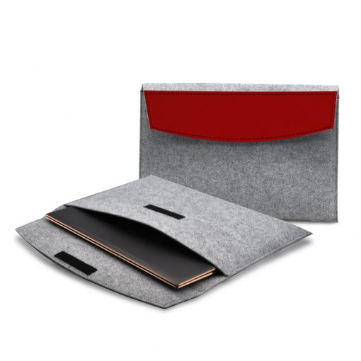 "Feltro Collection Upcycled Felt and Leather Two Tone 15"" Laptop Sleeve"