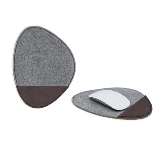 Feltro Collection Upcycled Felt and Leather Two Tone Pebble shape mouse pad